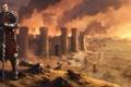 Картинка город, замок, меч, воин, арт, доспех, катапульты