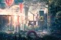 Картинка город, качели, фонарь, район, дом, площадка