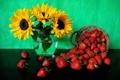 Картинка клубника, подсолнухи, корзинка, натюрморт, ягоды, цветы