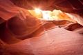 Картинка солнце, свет, скала, камень, каньон, пещера