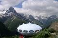 Картинка тарелка, горы, дом
