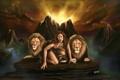 Картинка девушка, кошки, горы, скалы, водопад, хищники, лев