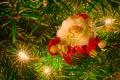 Картинка иголки, ёлка, гирлянда, Дед Мороз, лампочки