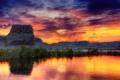 Картинка небо, трава, скала, сша, аризона, юта, озеро пауэлл