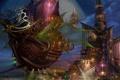 Картинка ночь, город, луна, корабль, башня, арт, ucchiey