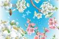 Картинка цветы, природа, пчела, коллаж, ветка, весна, сад