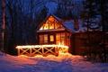 Картинка лес, снег, ночь, огни, дом, Зима, ели