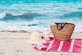 Картинка песок, море, волны, пляж, следы, природа, шляпа