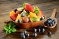 Картинка ложка, десерт, berries, фруктовый салат, mint leaves, fruit salad, ягоды черники