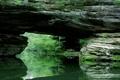 Картинка зелень, мост, отражение, речка, каменный, природный