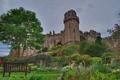 Картинка облака, небо, башня, Warwick castle, Уорикшир, замок, кусты