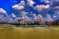 Картинка облака, мост, город, дома, теплоход