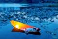 Картинка девушка, озеро, лодка