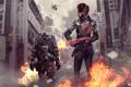 Картинка город, оружие, пламя, робот, Девушка, вертолет, киборг