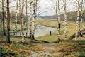 Картинка река, женщина, берёзы, Октябрь, листва, Ефим Волков, 1983