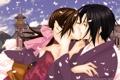 Картинка девушка, дом, поцелуй, лепестки, сакура, парень, Hakuouki Shinsengumi Kitan