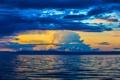 Картинка море, небо, облака, закат, горы, зарево