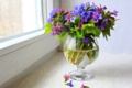 Картинка цветы, картина, лепестки, ваза, разноцветие