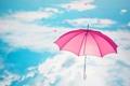 Картинка розовый, облака, зонт, сердечки, голубое, небо, зонтик