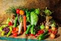Картинка кукуруза, урожай, лук, перец, натюрморт, овощи, томат