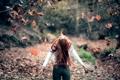Картинка осень, листья, девушка, Freedom