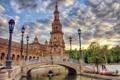 Картинка мост, река, фонари, Испания, Spain, Севилья, Андалусия