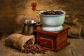 Картинка стол, кофе, зёрна, мешочек, турка, кофемолка