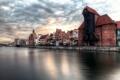 Картинка река, дома, Польша, Гданьск