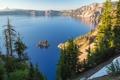 Картинка деревья, остров, Орегон, Oregon, Crater Lake, Crater Lake National Park, Озеро Крейтер
