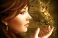 Картинка фантастика, бабочка, девушка, профиль, лицо, рука, арт