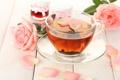 Картинка цветы, чай, розы, лепестки, баночки, чашка, розовые
