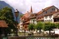Картинка город, фото, дома, Швейцария, фонарь, Unterseen