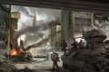 Картинка город, война, солдаты, танк