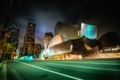 Картинка ночь, огни, улица, дома, США, Los Angeles, Walt Disney Concert Hall