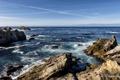Картинка море, камни, горизонт, California, Carmel-by-the-Sea