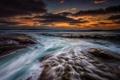 Картинка море, волны, пляж, закат, вечер, потоки