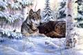Картинка лес, Mark Daehlin, волки, сосна, Heart and Soul, живопись, шишки