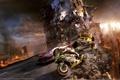 Картинка город, апокалипсис, разрушение, гонщики, motorstorm
