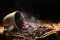 Картинка дым, кофе, зерна, пар, чашка, ткань, черный фон