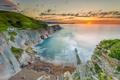 Картинка море, скалы, рассвет, побережье, горизон