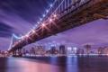 Картинка ночь, мост, огни, отражение, река, Нью-Йорк, Манхеттен
