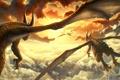 Картинка закат, облака, крылья, драконы, солнце