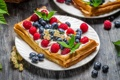 Картинка ягоды, малина, черника, тарелка, десерт, смородина, слойка