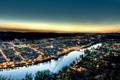 Картинка закат, city, город, огни, река, вечер, франция