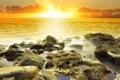 Картинка море, небо, солнце, облака, свет, пейзаж, природа
