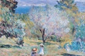 Картинка пейзаж, горы, дети, краски, картина, Анри Лебаск, Girls in a Mediterranean Landscape