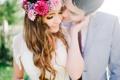 Картинка влюбленные, невеста, венок, жених, цветы