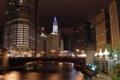 Картинка ночь, город, огни, небоскребы, чикаго, Chicago