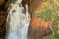 Картинка природа, дерево, гора, водопад
