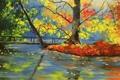 Картинка осень, деревья, мост, природа, река, арт, Basicsspace